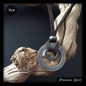 Men's genuine leather rope minimalist necklace